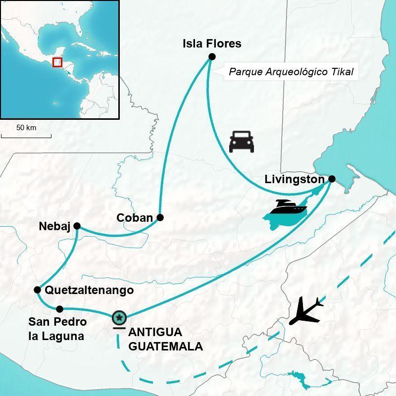 Mapa de la ruta del viaje por guatemala